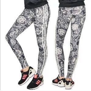 Adidas Floral 3 Stripes Leggings Pants Florido